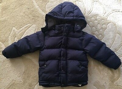 Boys BABY GAP Hooded Down Filled Puffer Navy Blue Winter Coat Size 5 Years