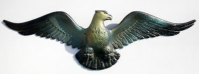 Vtg Cast Metal Beautiful American Bald Eagle Wall Hanging Art Plaque Home Decor