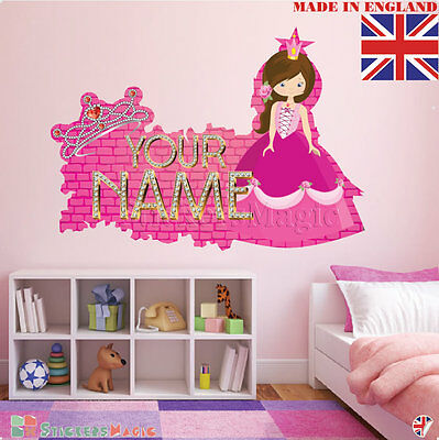 Personalised Baby Girl Wall Stickers Name Nursery Room Bedroom Removable Decal