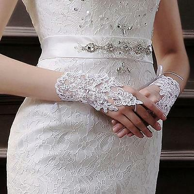 Party Bridal Lace Fingerless Gloves Short Paragraph Rhinestone