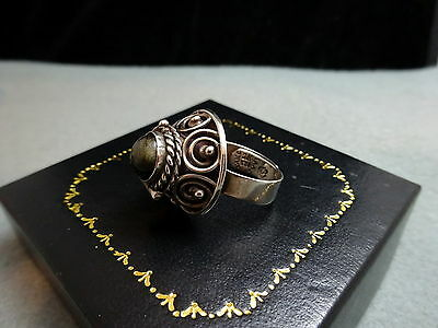 Gold Sheen Obsidian Taxco Mexico  Sterling Silver Poison Ring Vtg 1960s