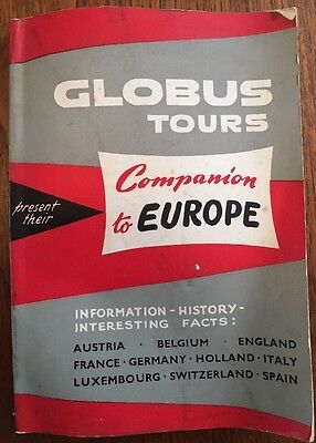 "Rare Vintage Globus Tours ""Companion to Europe"" 1964 Guide Book Retro"