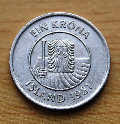 Iceland 1981 One 1 Krona Fish Coin Circulated