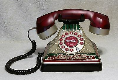 COCA-COLA Stained Glass Look Telephone Phone Lights Up - Used