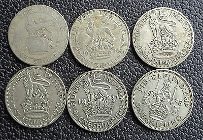 1920-1946 George V and George VI .500 Silver Shilling Choose Your Year