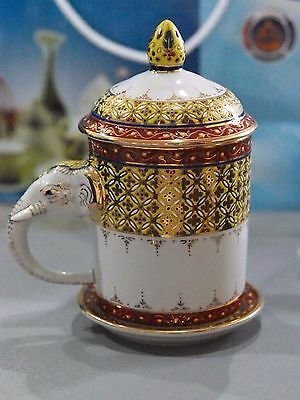 Thai Ceramic Porcelain Benjarong Mug, Elephant handle.Hand-painted from village.
