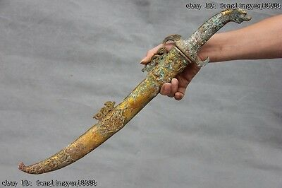 Chinese Folk Collect old Bronze Copper Gilt Dragon Head Tibetan Knife Sword
