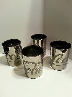 """Coca-Cola Silver Flashed Glitter 4"""" Drink Glasses Lot Of 4 Pop Culture Tumblers"""