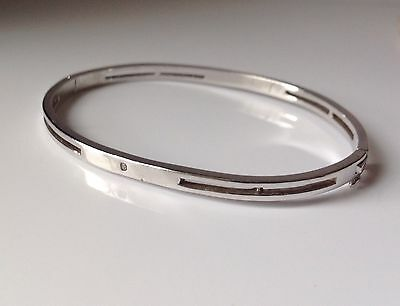 925 Sterling Silver Bangle With Genuine Small Diamond - 13,0 Gram