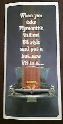 "1964 VALIANT Dealer Brochure ""When you take Plymouth's Valiant '64...""(VINTAGE)"