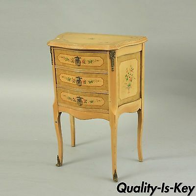 Vintage French Louis XV Style Floral Painted Italian Nightstand Bombe End Table