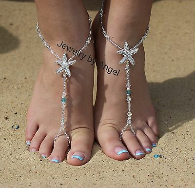 Turquoise Crystal Starfish Foot Jewelry Wedding Starfish Barefoot Sandal