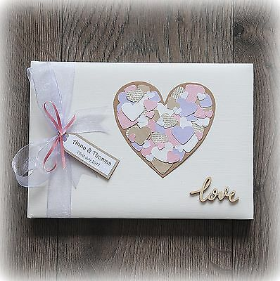 Beautiful Luxury Personalised Wedding/ Anniversary Guest Book/ Hand Made + Box