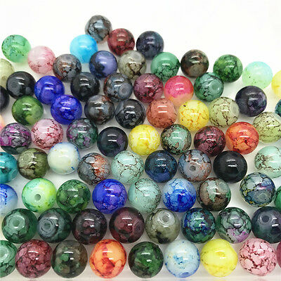 DIY 100 Pcs 4mm Loose Beads Round Spacer Double Colors Glass Jewelry making #40