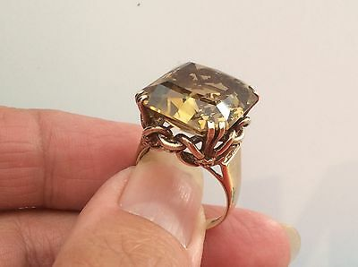 BEAUTIFUL 9ct EXTREMELY HEAVY 10g ANTIQUE LARGE CITRINE  RING SIZE P1/2