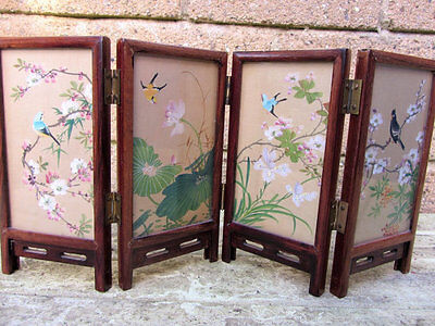 Beautiful Hand Painted On Silk Small Chinese Screen