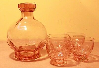 Orange 50's French Round Glass Bottle with Stopper & 4 Glasses Set Rare Decanter