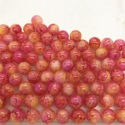 DIY 50 Pcs 6mm Loose Beads Round Spacer Double Colors Glass Jewelry making #17