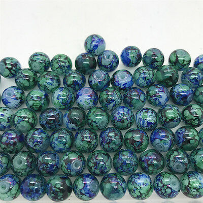 DIY 4mm 100PCS Glass Round Pearl Spacer Loose Beads Pattern Jewelry Making#16