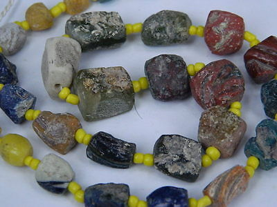 Ancient Roman C.200 BC Glass Fragment Beads STrand ###I702###