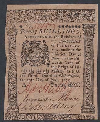 PA-178 pl.A * PCGS XF45 PPQ *  20s July 20, 1775 Pennsylvania Colonial Currency