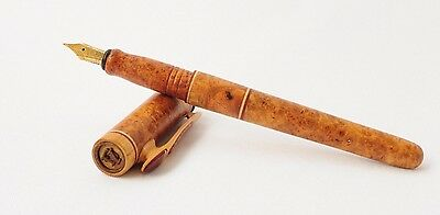 Handcrafted Wooden Fountain Pen With Wood Case, Bocote Wood Burl And Rosewood