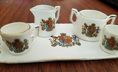 Gemma Crested China DIEU ET MON DROIT Miniature Tea Set Tray Sugar Bowl Cups Jug
