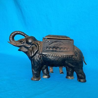 Antique PAT. Metalware Cast Iron Elephant Cigarette Holder Crank Tail Dispenser