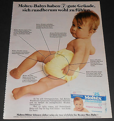 1973 vintage print ad - MOLTEX BABY DIAPERS - GERMANY 1-PAGE ADVERT bedwetting