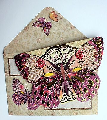*PUNCH STUDIO Set of 4 Gold Foil Die-Cut Blank Note Cards ~ Brilliant  Butterfly