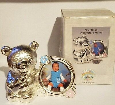 Teddy Bear Coin Bank Photo Picture Frame Vtg 1990 Oneida Rogers in Box