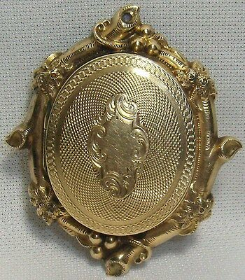 Antique Solid Gold Ornate Mourning Hair Wreath Locket Brooch Pin Civil War Era
