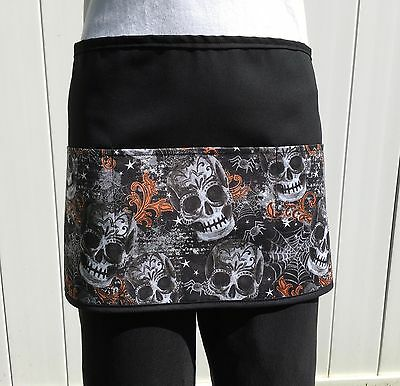 Black Skulls server waitress waist apron 3 pocket restaurant cafe Classyaprons