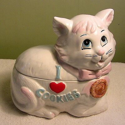 """9.5"""" Vintage White Cat I Love Cookies Jar Canister Towle Japan"""