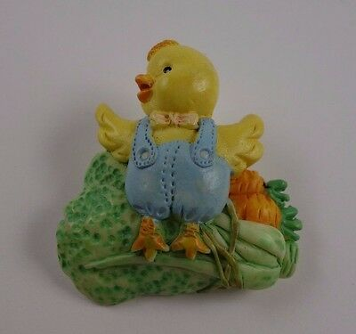 Yellow Chick Blue Farmer Overall's Vegetable Easter Pin   6