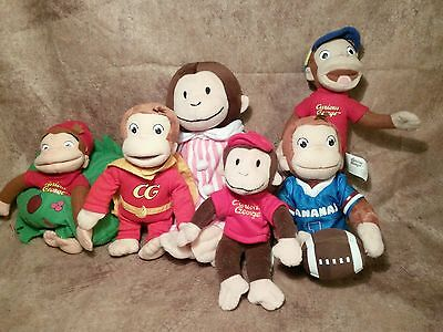 Curious George plush stuffed doll mini bean lot Football superhero baseball PJ's
