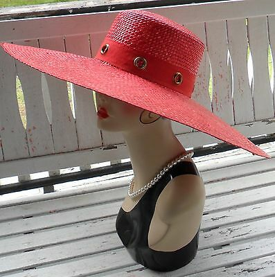 Vtg 50s Red Wide Brim Woven Straw Dress HatDerby Garden Party Betmar Made Italy