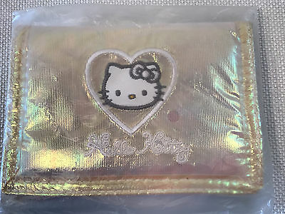 Rare Hello Kitty Vintage Iridescent Pink Green Heart Wallet, 1998, NEW IN PACK