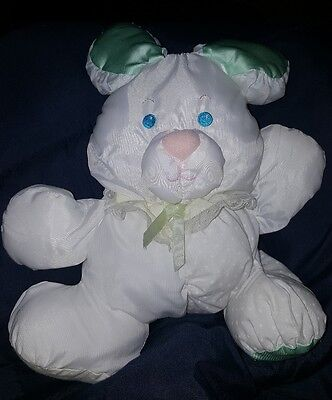 1988 Fisher Price Baby Puffalumps Plush Bunny Rabbit White Green Yellow Rattle