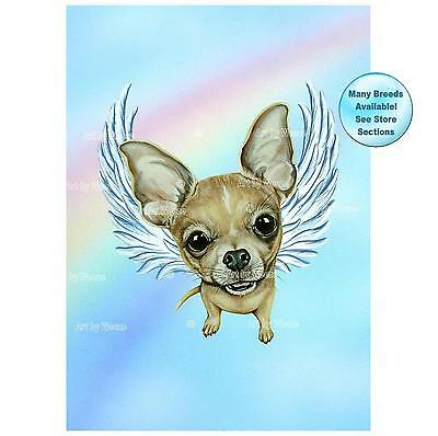 Chihuahua Angel Art Print Dog Memorial Picture Pet Loss Gift