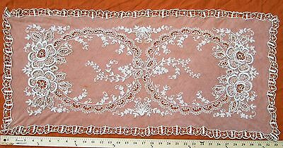 "Antique Tambour Embroidered French Net Lace runner 33"" x 16"""