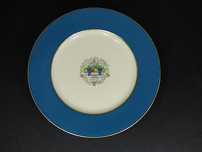 "Set Of 7 - Lenox Ovington's 10-1/2"" Dinner Plates Blue Band Fruit - Pristine!"