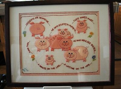 Vintage Finished Crewel Embroidery Watch your Weight Pigs Pink 1986 Framed
