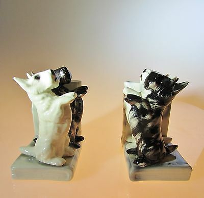 Vintage Scottie and Westie Terrier Dog Ceramic Bookends