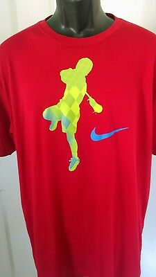 Nike Lacosse Graphic T-Shirt Men's Size Xl Red Short Sleeve Cotton Blend Casual