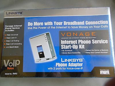 Linksys Phone Adapter 2 Ports For Voice Over Ip PAP2 V2.0 Vonage Start up Kit