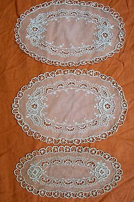 3 Antique Tambour Embroidered French Net Lace mats