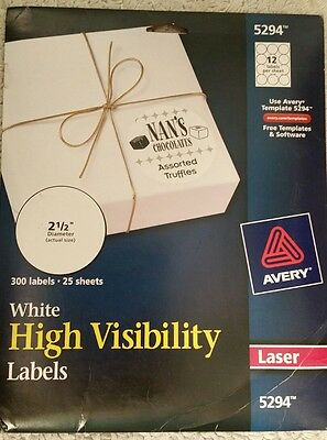 Avery High Visibility 2 1/2 Inch Diameter White Labels 300 Pack (5294) New