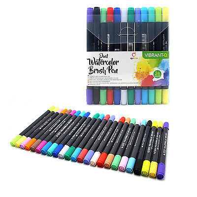 Dual Tip Watercolor Brush Pen Art Marker Set 24 Piece Drawing Calligraphy Sketch