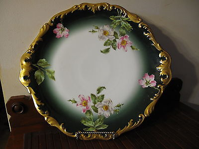 "Antique Limoges T&v Hand Painted Wild Rose 14.5"" Charger Plate Gold Encrusted"